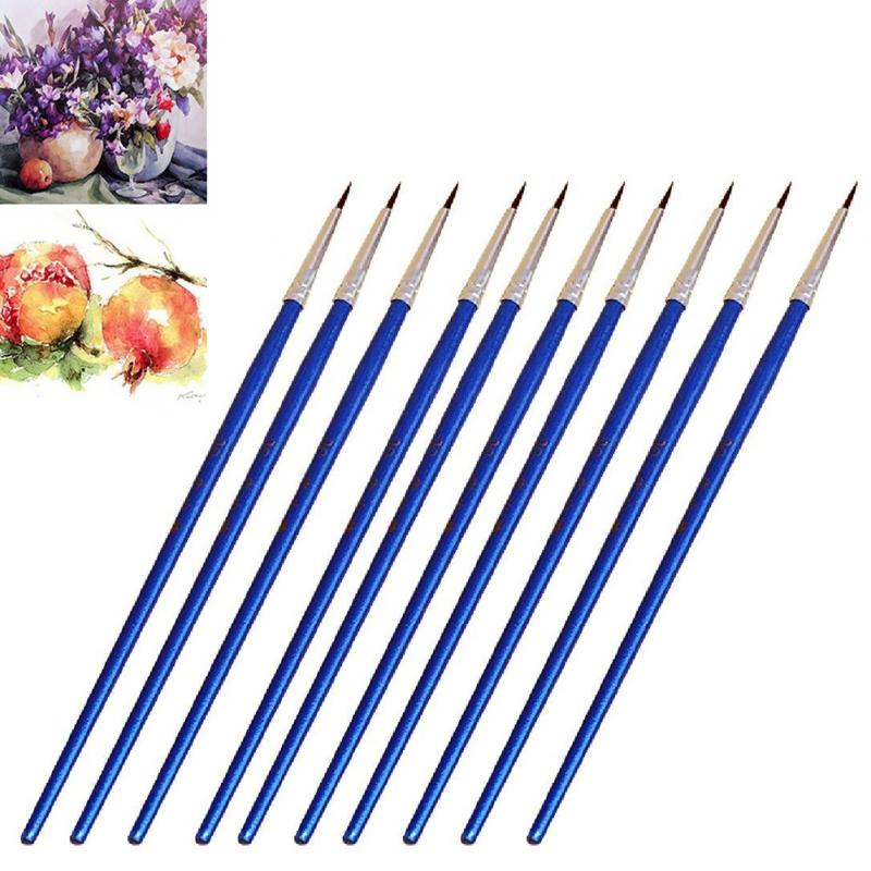 10pcs/set Gouache Oil Painting Brush Extra Fine Brush Pen Plastic Handle Nylon Wool Fine Hand-painted Thin Hook Line Pen Drawing
