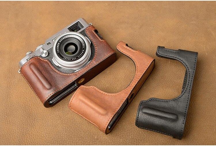 AYdgcam marka Handmade prawdziwej skóry skórzany futerał do aparatu torba pół ciała dla Fujifilm X100F Fuji X100 F uchwyt kamery torba na aparat w Torby na aparaty/kamery od Elektronika użytkowa na AliExpress - 11.11_Double 11Singles' Day 1