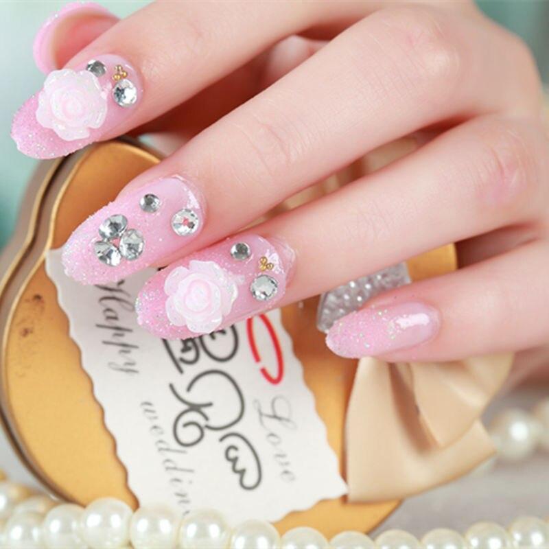 24pcs/Set Professional Pink False Nails High Quality Fake Nail With ...