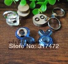 Freeshing! 20set/lot Rhinestone Rabbit vial pendant cover Finger Ring DIY ( glass vial & screw base ring & black rubber ring)