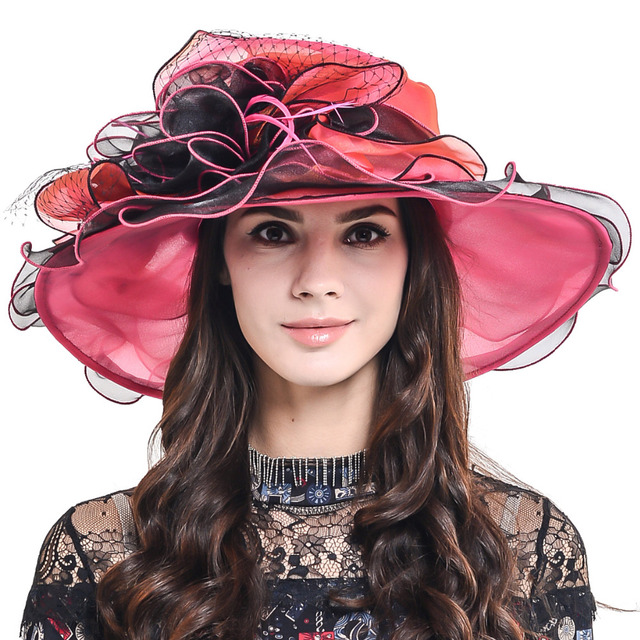 80b82e2f958d7 HISSHE Lady Kentucky Derby Hat Female Organza Church Dress Wedding Floral  Ruffle Hat Women Elegant Tea Party Summer Hat