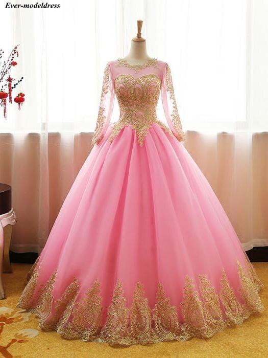 Manches longues Quinceanera robes de bal or dentelle Appliques à lacets longueur de plancher doux 16 robes robes d'occasion spéciale