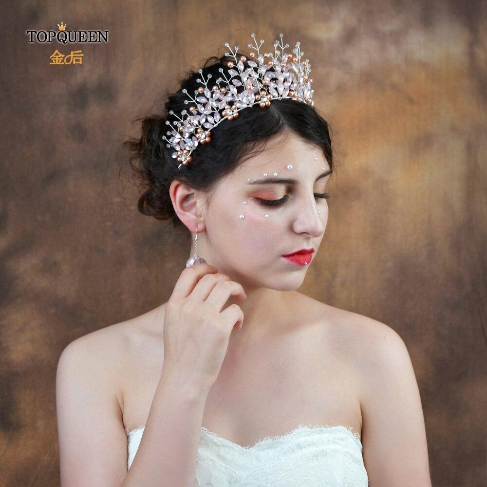 TOPQUEEN HP221 Pink Crown Crystal Bridal Crown Tiara Crystal Crown Princess Crown For Girls Beautiful Pageant Crowns