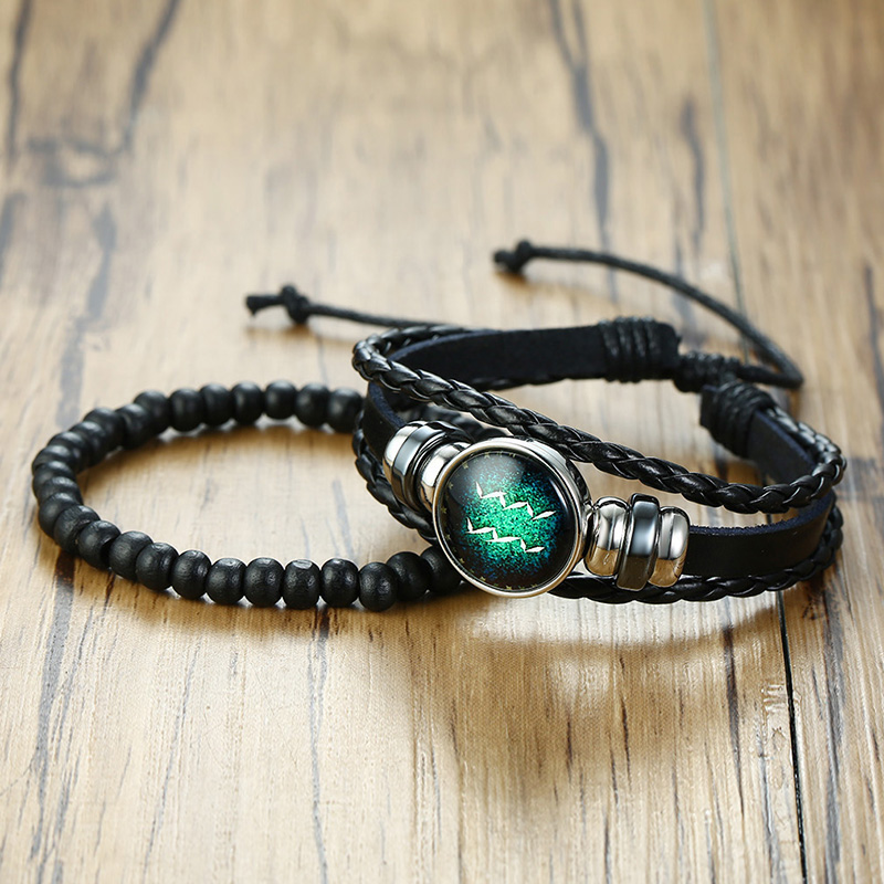 2 Piece 12 Constellations Leather Unisex Bracelet