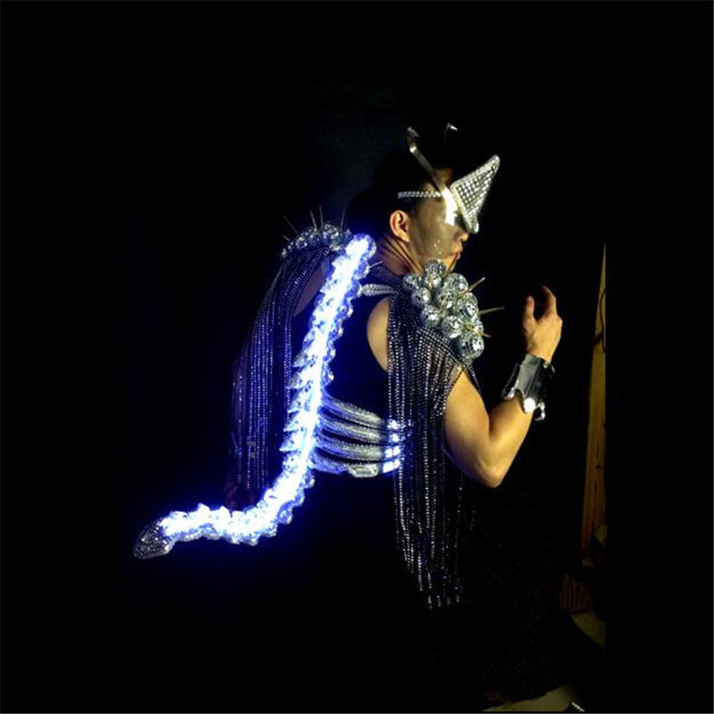WX20 Mens Singer keel tail clothes ballroom dancing clothing bar party dj disco suits performance led  light stage costumes