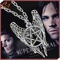 Collar Supernatural pentagram del pentáculo Castiel alas del ángel vintage colgante de plata antiguo de la joyería para hombre y mujeres venta al por mayor