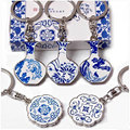 Keychain Chinese Blue and White Porcelain Print Souvenir Key Ring Unisex Key Chain Friends to Send Gifts Porte Clef Llavero KC35