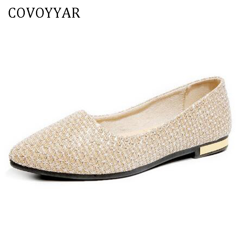 COVOYYAR 2018 Shining Women Ballet Flats Spring Autumn Pointed Toe Glitter Ballerina Shoes for Party Loafers Slip On WFS397 covoyyar 2018 plaid pattern women loafers concise pointed toe lady ballet flats spring slip on casual shoes plus size 40 wfs923