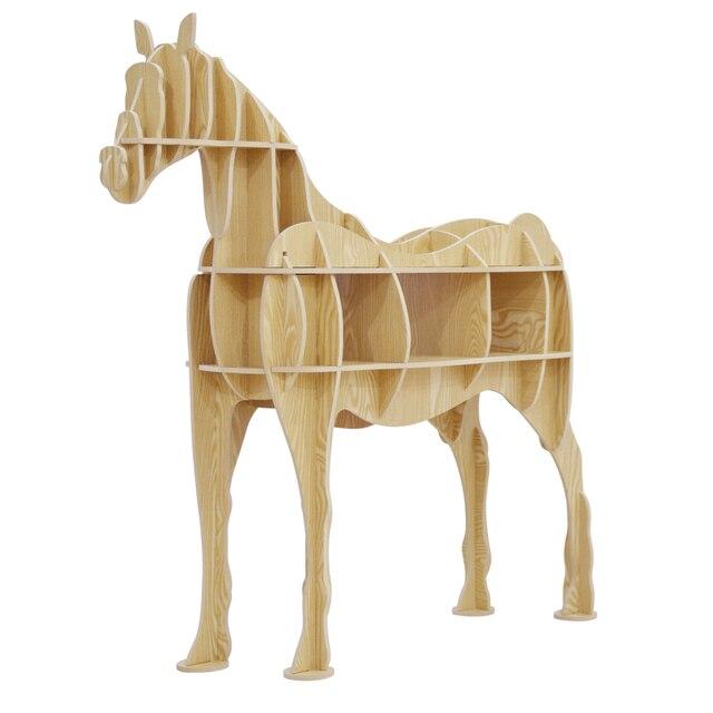 Wood Craft Horse Coffee Table Book Shelves Deer Desk Furniture