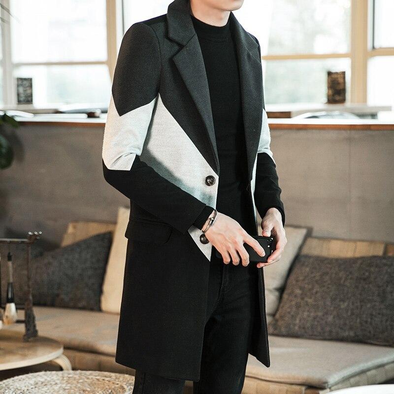 2019 новое зимнее длинное шерстяное пальто большого размера, мужское молодежное повседневное плотное пальто, тонкая шерстяная ветровка с отв...