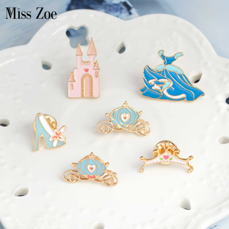 f8e06128b9100 Cinderella pins Crystal shoe castle pumpkin carriage blue dress crown  Brooch Denim Jacket Pin Buckle Shirt Badge Gift for Girls