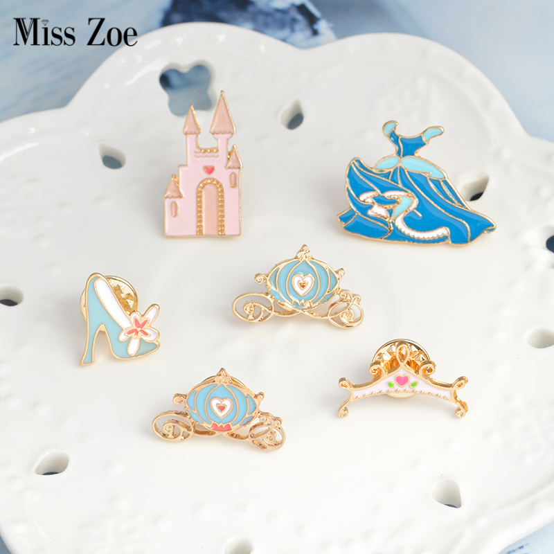 Cinderella pins Crystal shoe castle pumpkin carriage blue dress crown Brooch Denim Jacket Pin Buckle Shirt Badge Gift for Girls