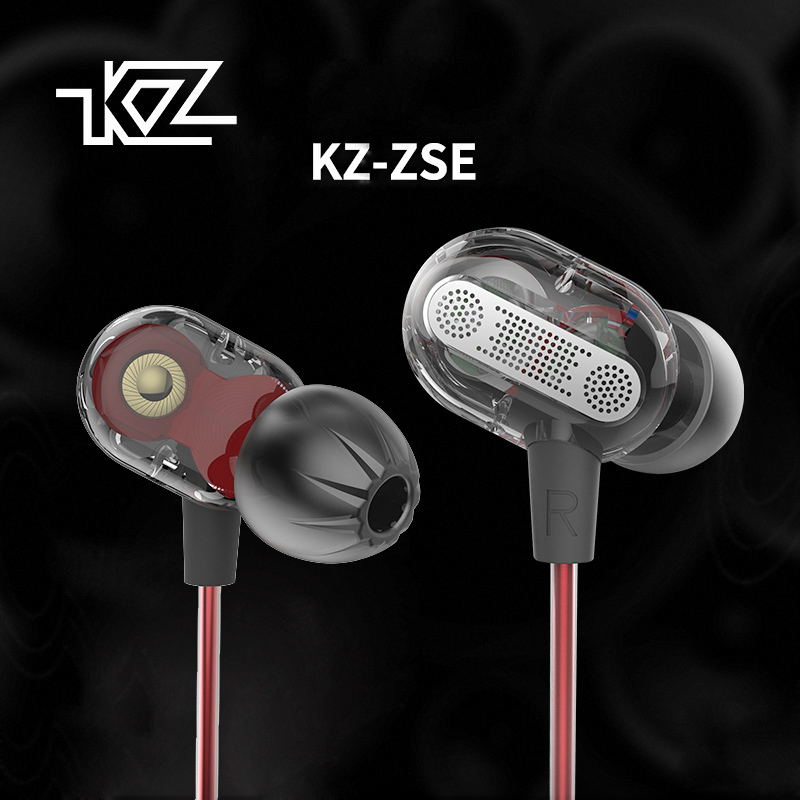 NEWEST KZ ZSE Dynamic Dual Driver Earphone Headset Audio DJ Monitors Headphone Noise Isolating HiFi Music Sports Earbuds qkz kd8 dual driver noise isolating bass in ear hifi earphone for phone wired stereo microphone control headset for music