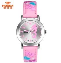 HOSKA Marque Nouvelle Mode Montre Enfants Couleur Sangle Mignon Papillon Motif Casual Montre-Bracelet Conçu pour Fille EP Matériel Horloge