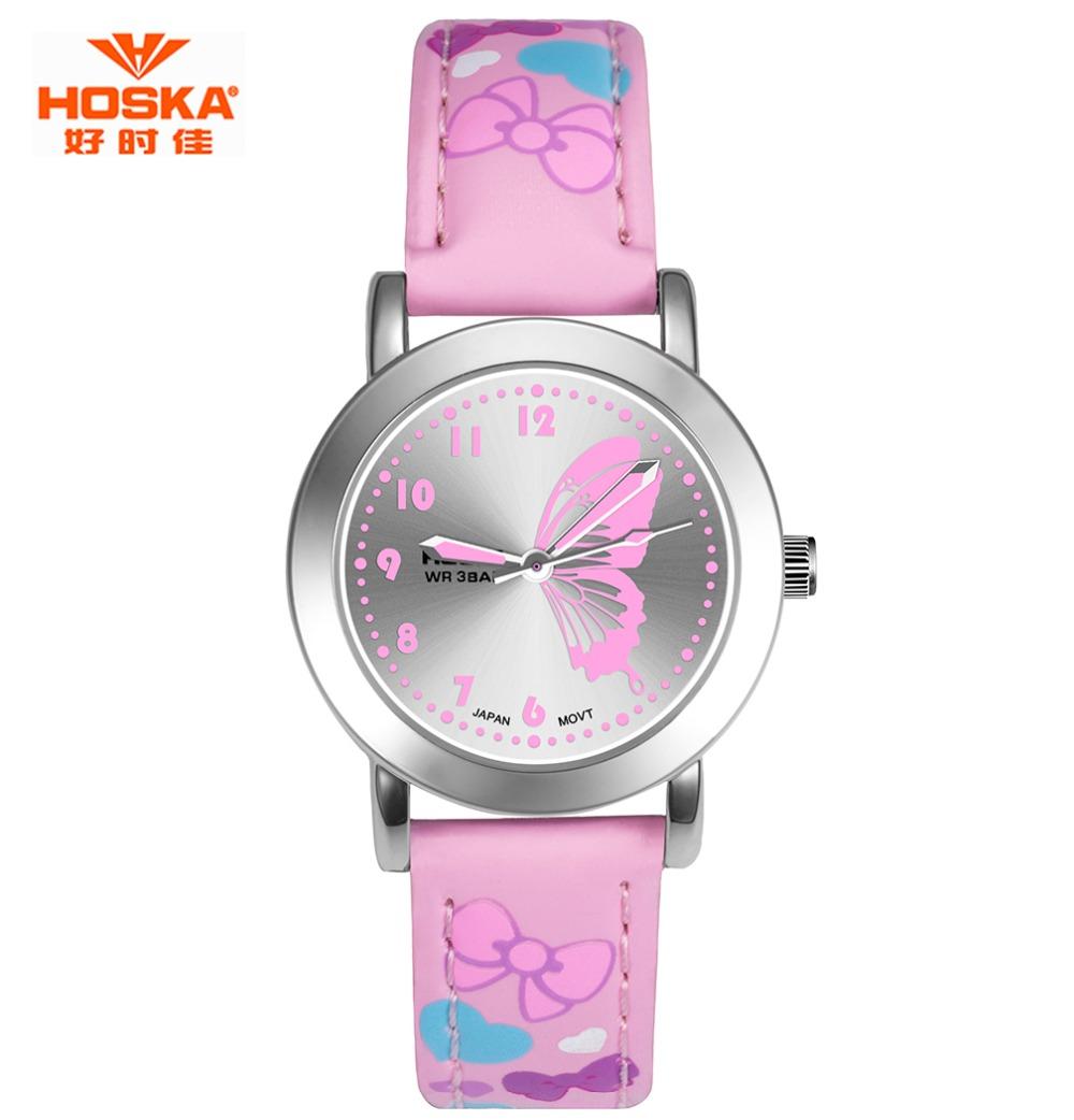 Prix pour HOSKA Marque Nouvelle Mode Montre Enfants Couleur Sangle Mignon Papillon Motif Casual Montre-Bracelet Conçu pour Fille EP Matériel Horloge