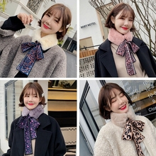 LARRIVED Thickened Wool Collar Scarf Boy Girl Leopard Plush For Women Warm Bow Tie Winter Wraps Fur