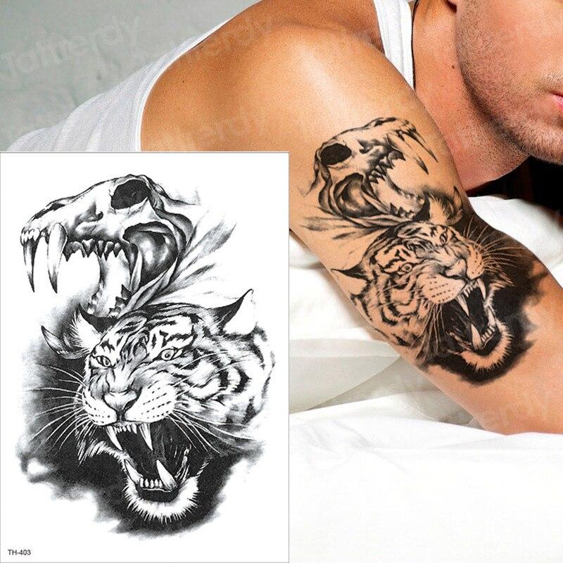 Temporary Tattoo Sleeves Tattoos Tiger Swallow Paw Tattoo Halloween Body Stickers Water Transfer Tattoo Waterproof Tatoo Men Boy