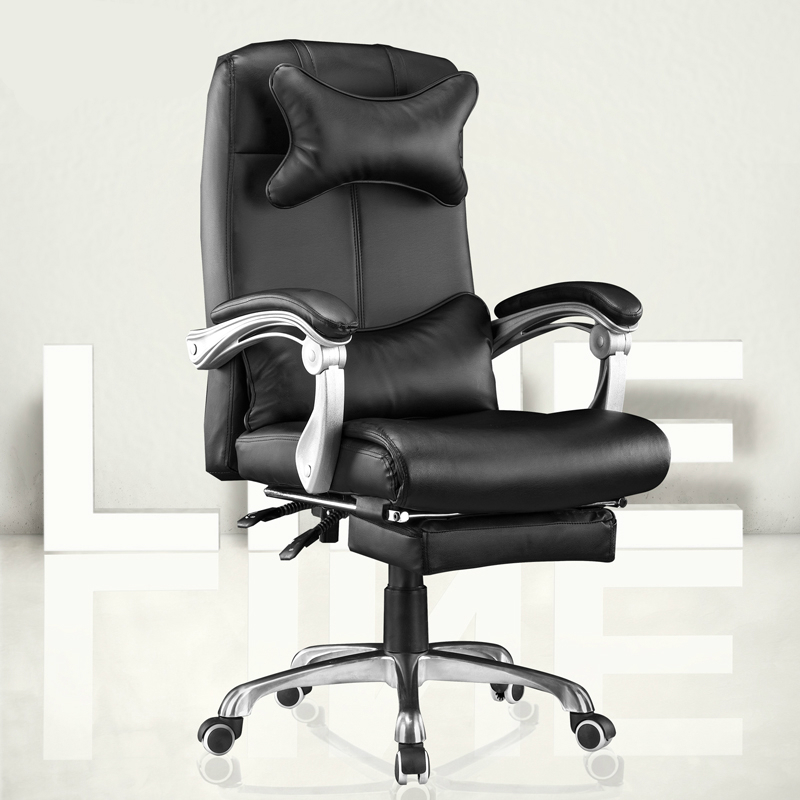 PU Office Boss Chair Lifted Rotated Household Computer Chair Reclining With Footrest Massage Swivel Chair Linkage Armrest
