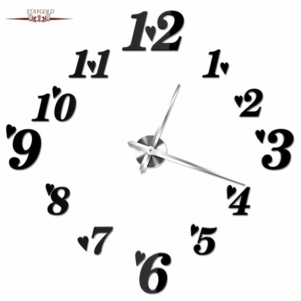 The New Circular Wall Clock Diy Mirror Eva Large Digital Wall Clock