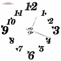 The New Circular Wall Clock Diy Mirror Eva Large Digital Wall Clock Hearts Subsection Living Room Bedroom Decoration