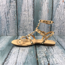 Kmeioo Gladiator For Women Rivets Studded Sandals Cuts-Out F