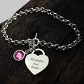 Wholesale Heart Birthstone Bracelet In Sterling Silver  Names Lover Charm Bracelet You and Me Name Bracelet Love Jewelry
