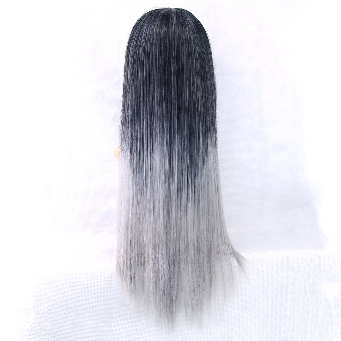 Soowee 6 Color Long Straight Black to Gray Ombre Hair Piece Heat Resistant Fiber Synthetic Hair