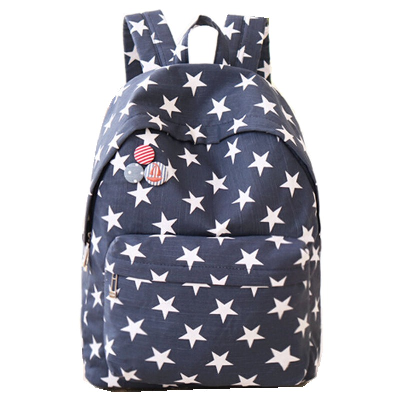 Preppy Style Many Stars Printing font b Backpack b font School Should Bags Women font b