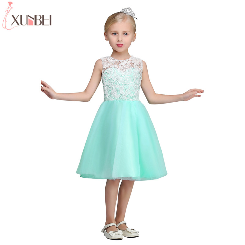Real Photo Mint Green Knee Length A-line   Flower     Girl     Dresses   2019 Tulle Communion   Dress   Lace Vest Pageant   Dresses   For Child