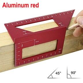 Алюминиевый сплав 45 градусов 90 градусов деревообрабатывающий Многофункциональный квадратный Измеритель угла транспортир над линейкой - Цвет: aluminum red