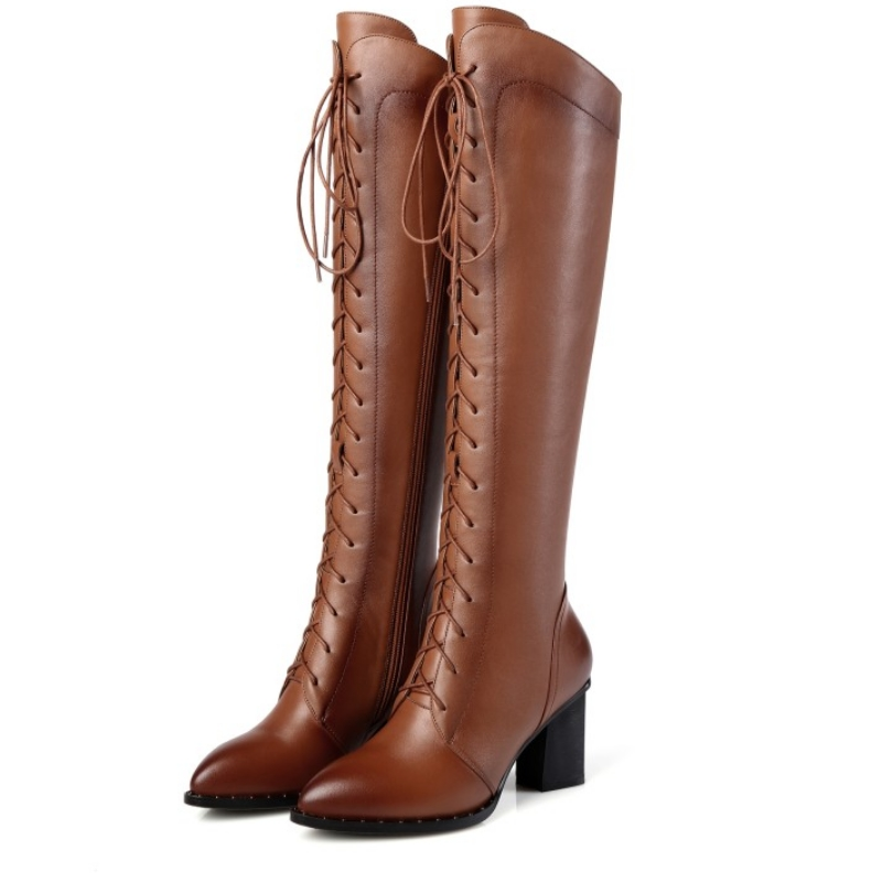 fanyuan genuine leather boots Women Lace Up Riding motorcycle Boots Knee High Boots Zipper autumn Winter Shoes woman botte