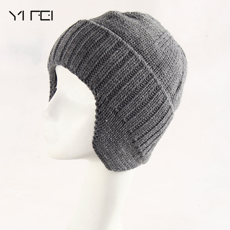 YIFEI Winter Wool Knitted Hat Male Beanies Casual Solid Color Simple Hat For Men Men Ear protection fur lining Thicken Skullies wool felt cowboy hat stetson black 50cm