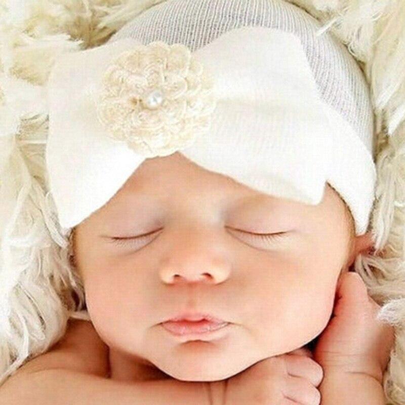 Baby Flower Hat Newborn Girl Cotton   Beanie   Cap Pearl Flower Kids Warm Christmas Hat Children Accessories Handmade Headwear