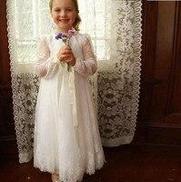 New Boho Lace Flower Girl Dresses for Wedding Crew Neck Kids Formal Wears Girls Birthday Dresses