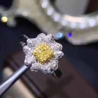 Fine Jewelry Real 18K White Gold Real Natural Yellow Diamond Wedding Engagement Female Rings for Women Fine Diamonds Ring
