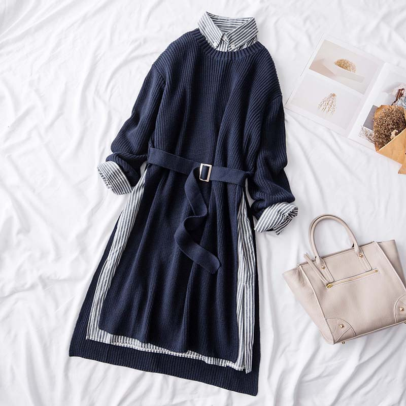 Autumn Winter 2018 Women 2 Pieces Dresses Suits Knitted Long Sweaters Pullovers And Striped Shirts Dresses Top Quality