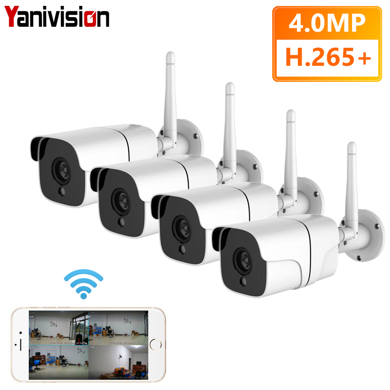 4MP Kit Wireless Security Camera System IP Camera Wifi SD Card Outdoor 4CH Audio CCTV System Video Surveillance Kit Camara