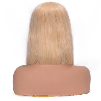 150% Density Lace Front Human Hair Wigs 613 Blonde Short Bob Straight Lace Wigs Brazilian Remy Human Hair Pre plucked Hairline 2