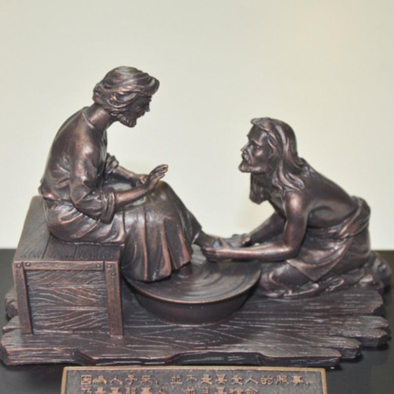Jésus laver les pieds pour Disciples Statuette Jesu ornement haute qualité parure cadeau chrétien résine Imitation cuivré agneau de dieu