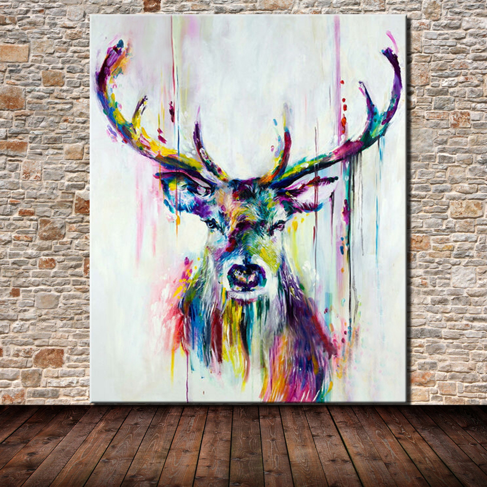 Hand Painted Animal Oil Painting Canvas Large Abstract Deer Paintings Wall