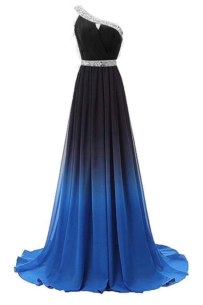 ec464f8cdcb08 Bealegantom 2019 Gradient One Shoulder Chiffon Prom Evening Dresses Beaded  Plus Size Ombre Party Gowns Vestido Longo QA1232