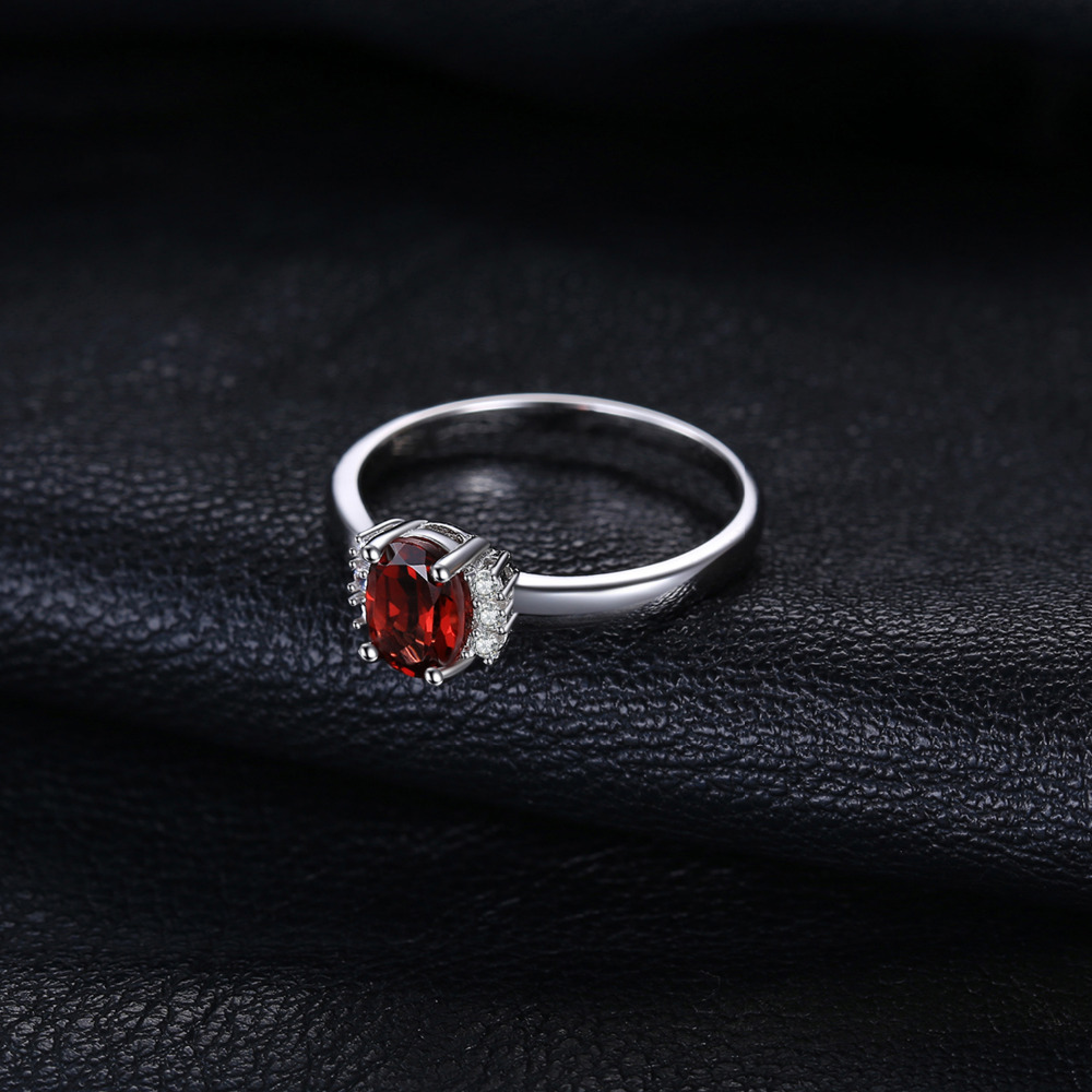 SmykkerPalace 1.1ct Oval Natural Red Garnet Ring 100% Ægte 925 - Smykker - Foto 2