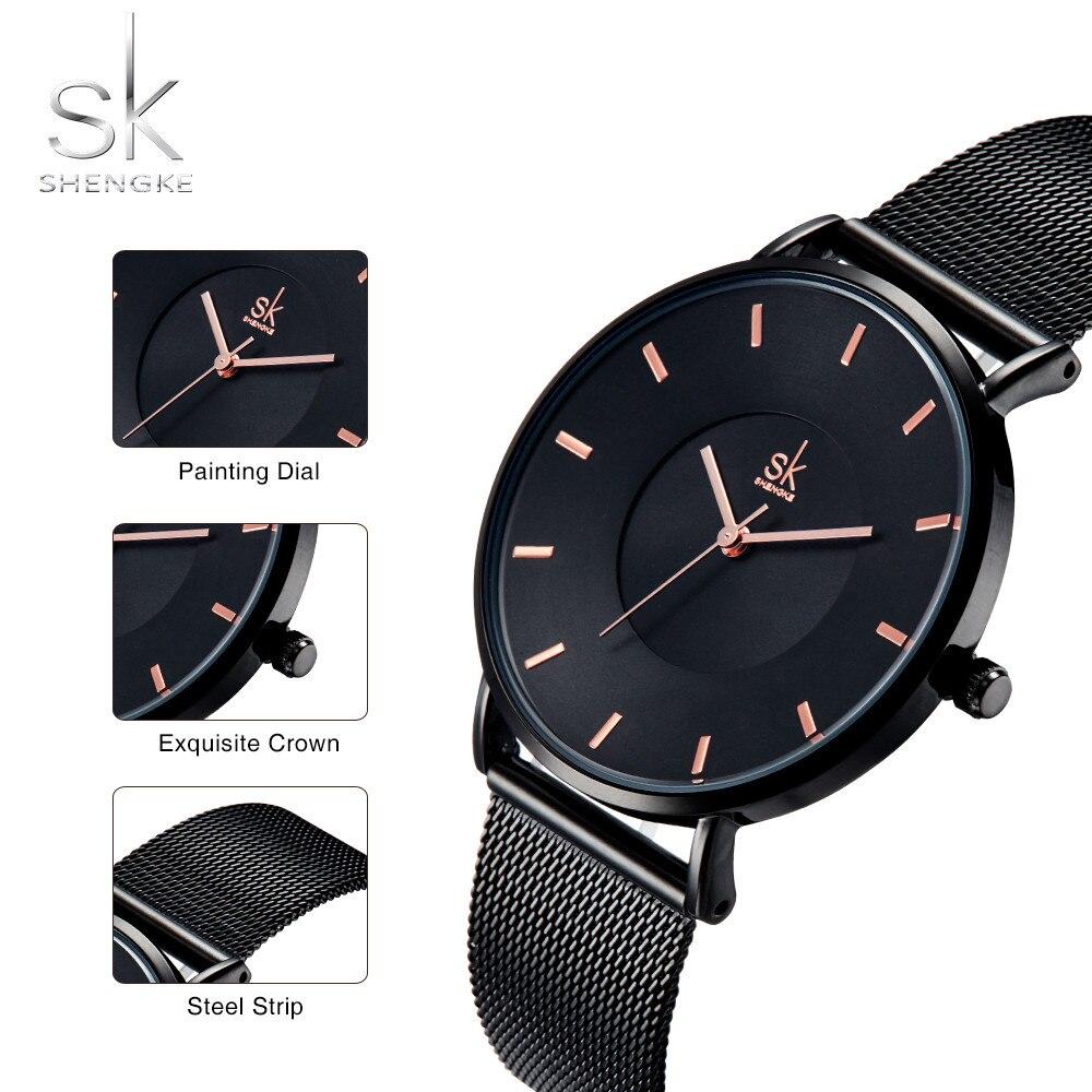 d03a9a0f92078 Shengke Fashion Black Women Watches 2018 High Quality Ultra thin Quartz Watch  Woman Elegant Dress Ladies Watch Montre Femme SK-in Women's Watches from ...