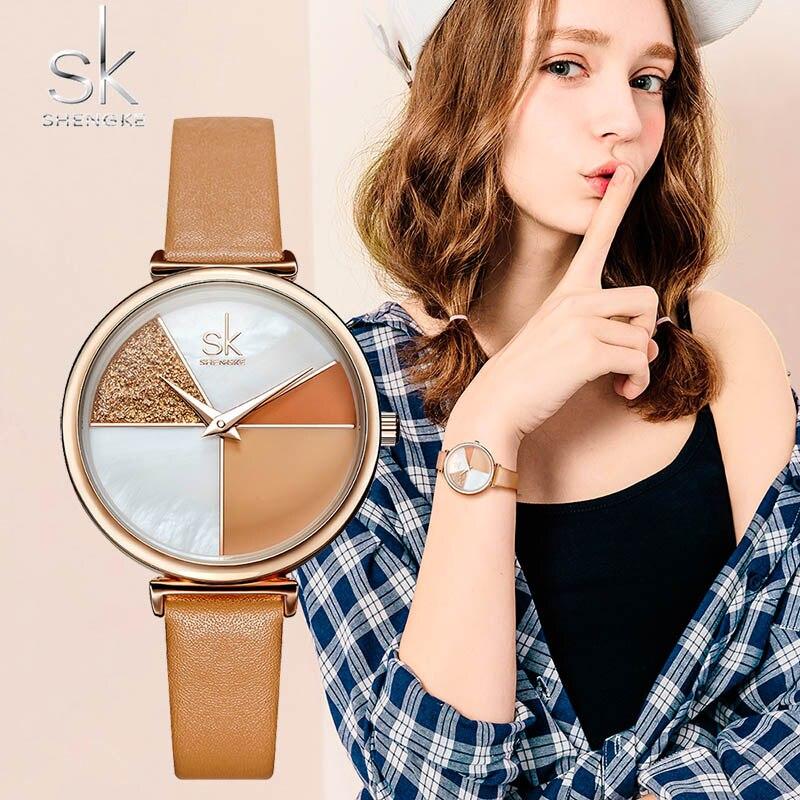 SK Ladies Wrist Watch Luxury Leather Watches Women SHENGKE Creative Fashion Quartz Watches For Reloj Mujer 2019 Relogio Feminino