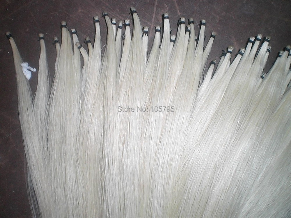 50 Hanks Quality Mongolia Stallion Bow hair 6gram/hank in 32 inches 60 hanks stallion white bow hair including 30 hanks black