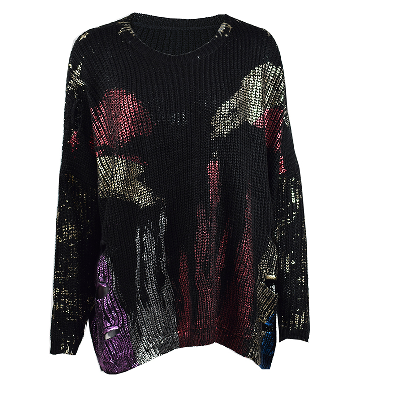 NewAsia 2019 Sweater Women Metallic Print Oversized Korean Style Sweater Long Sleeve Casual Pullover Hollow Out Knitted Jumper