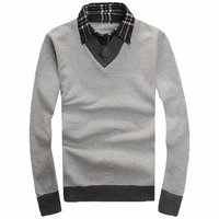 Free Shipping 2015 Fashion Fake Two Shirt Collar Lapel Men Sweater Men Sweater Korean Students Loaded