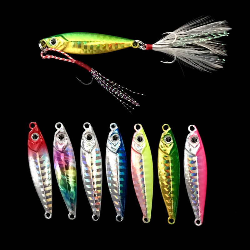 Fishing Slow Shaking Jigs Lure Shore Casting Jigbait Artificial Hard Metal Lures Bait Double Hooks 10g/4.5cm 60g Lot 7 Pieces bammax fishing lure 7 5g 5cm shore cast iron metal sequins lures hard bait spoon jig wobbler jigs saltwater fishing accessories