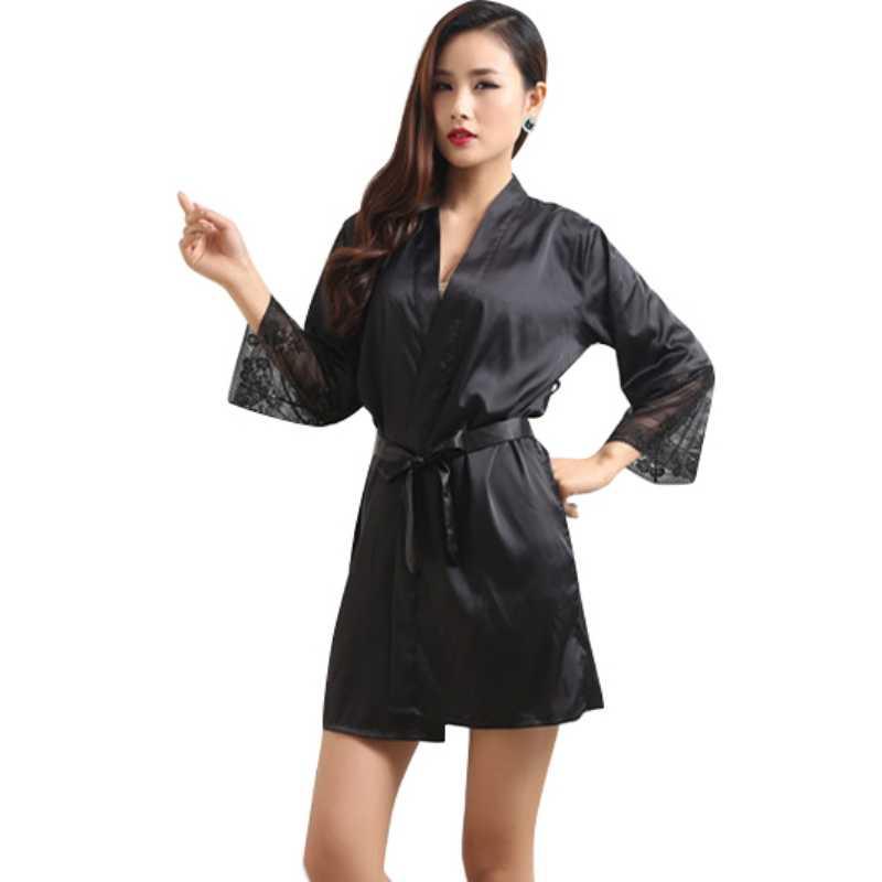 Mid-sleeve Sexy Women Deep-V Nightwear Robes Plus Size Lace Silk Female  Bathrobes cdc95b01a