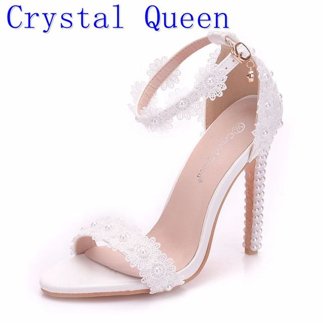 5bb04bf1a98 Crystal Queen Women Pearl Lace Wedding Shoes Thin High Heels White Flowers  Bridal Sandals Women Summer